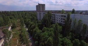 The Abandoned City of Pripyat near Chernobyl (Aerial, 4K) stock video