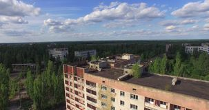 The Abandoned City of Pripyat near Chernobyl (Aerial, 4K) stock video footage