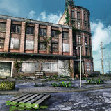 Abandoned city square. With ruined buildings and ivy Stock Images