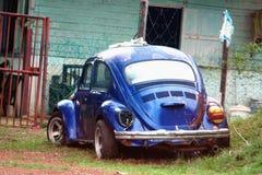 Abandoned classic blue retro car Stock Photo