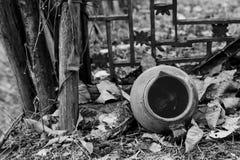 An abandoned clay pot stock photo