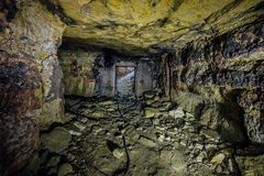Abandoned and collapsed sandstone or limestone mine. In Sevastopol, Crimea stock photography