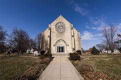 Abandoned College Chapel - Ohio. A wide view of an abandoned college chapel on a sunny afternoon in Dayton, Ohio stock photos