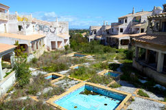 Abandoned unfinished algarve building project. Abandoned complex in the algarve portugal Stock Image