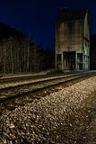 Abandoned Coal Tower at Night - Chesapeake and Ohio Railroad - Thurmond, West Virginia. An abandoned concrete coal tower, seen at night, is along a former stock images