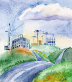 Abandoned construction on the hills. Unfinished buildings with building cranes, located on the hills. To them there is a winding road vector illustration