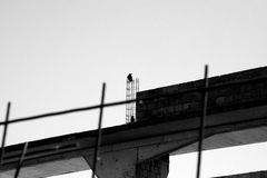 Abandoned construction site. Abandoned old construction site monochrome royalty free stock photo
