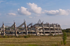 Abandoned construction site of a football stadium Royalty Free Stock Images