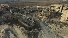 Abandoned construction site of Hospital at spring time aerial drone image. Abandoned at 1991,during Ukrainian undependence crisis.Near Kiev,Ukraine stock footage