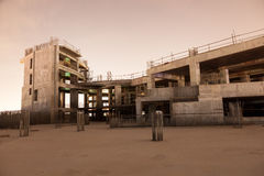Abandoned construction site at night Royalty Free Stock Photos