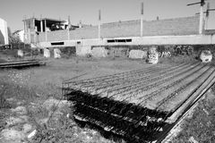 Abandoned construction site. Abandoned old construction site monochrome royalty free stock image
