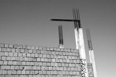 Abandoned construction site. Abandoned old construction site monochrome stock images