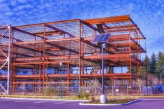 A abandoned construction site on a sunny day. Olympia Washington. A building in disarray stock photo