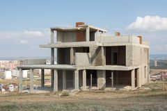 The abandoned construction of small private house Stock Image