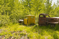 Abandoned construction vehicle in the Yukon forest Royalty Free Stock Photography