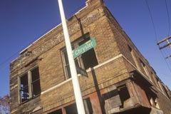 Abandoned corner brick building, Detroit, Michigan Royalty Free Stock Photo