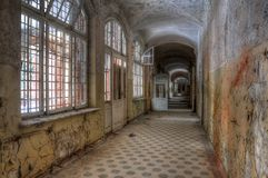 Abandoned Corridor in Beelitz Heilstätten Royalty Free Stock Photography