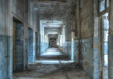 Abandoned Corridor in Beelitz Stock Photography