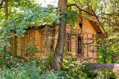 Abandoned Cottage. Wood cottage in ukrainian forest abandoned by people Stock Photo