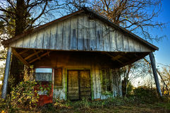 Abandoned Country Gas Station with Single Gas Pump Royalty Free Stock Images