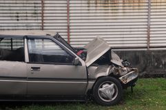 Abandoned crashed car after an accident Royalty Free Stock Photography