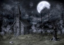 Abandoned creepy church. Old abandoned creepy church background Stock Image