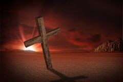 Abandoned Crucifix. On Desert in Sunset. Christians Theme. Crucifix Illustration Royalty Free Stock Photography