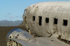 The abandoned DC-3 Airplane on Solheimasandur beach. The abandoned DC-3 Airplane on the black sand Solheimasandur beach. Douglas Dakota DC3, US Navy, South Stock Photo