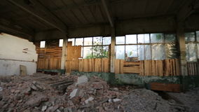 Abandoned derelict industrial premises stock footage