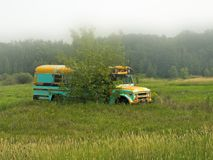 Abandoned deserted old school bus in a field royalty free stock photo