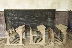 Abandoned Desks Stock Photo