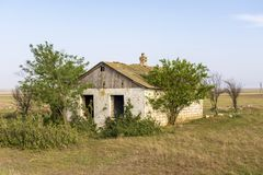Abandoned destroyed houses. Abandoned villages in Crimea. royalty free stock photo