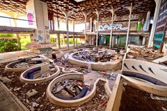 Abandoned and destructed luxury hotel interior. Krk, Croatia, August 31 2017: Abandoned and destructed luxury hotel Palace Haludovo in Malinska, Island of Krk Stock Photography