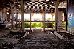 Abandoned and destructed luxury hotel interior. Krk, Croatia, August 31 2017: Abandoned and destructed luxury hotel Palace Haludovo in Malinska, Island of Krk Stock Photo