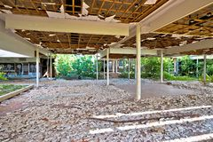 Abandoned and destructed luxury hotel. Krk, Croatia, August 31 2017: Abandoned and destructed luxury hotel Palace Haludovo in Malinska, Island of Krk, Croatia Stock Images