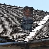 Deteriorated roof. Abandoned and deteriorated roof from old house royalty free stock photos