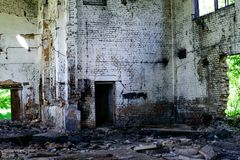 Abandoned building, Ukraine. Abandoned and devastated building in Ukraine, Donbass. Forgotten place. The concept of the fighting force and war stock photos