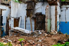 Abandoned building, Ukraine. Abandoned and devastated building in Ukraine, Donbass. Forgotten place. The concept of the fighting force and war stock images