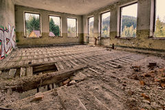 Abandoned devastated room. With broken floor royalty free stock photography