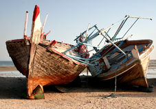 Abandoned dhows. Abandoned fishing dhows in Qatar, Arabia Stock Photo