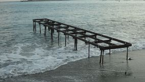 Abandoned pier in the evening stock photo