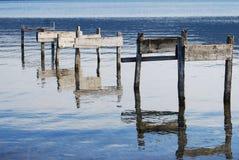 Abandoned docking. Lake of Albano (Italy Stock Images
