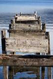 Abandoned docking. Lake of Albano (Italy Stock Image