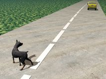 Abandoned dog - 3D render. One car running and leaving behind an abandoned dog in the street vector illustration