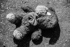 Abandoned dog doll on the pavement Stock Photo