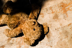 Abandoned doll teddy bear loneliness sad Homeless concept