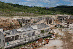 Abandoned dolomite mine far view Royalty Free Stock Image