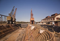 Abandoned Dry Dock. This is a picture of an abandoned dry dock at Mare Island National Historic District at Vallejo, California.  Mare Island is a former naval Royalty Free Stock Image