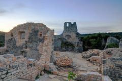 Abandoned Dvigrad Castle of Istria in Croatia, at dusk royalty free stock photo