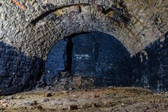 Abandoned empty old dark underground vaulted cellar royalty free stock photos